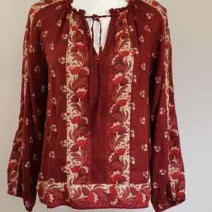 Lucky Brand border print top peasant blouse